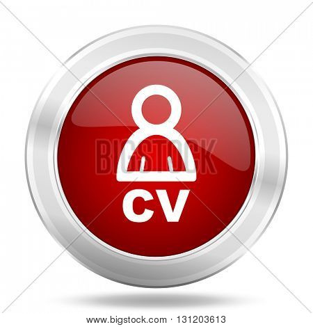 cv icon, red round metallic glossy button, web and mobile app design illustration
