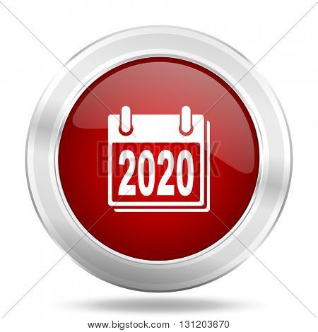 new year 2020 icon, red round metallic glossy button, web and mobile app design illustration