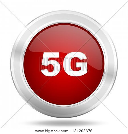 5g icon, red round metallic glossy button, web and mobile app design illustration
