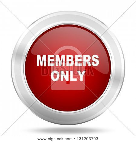 members only icon, red round metallic glossy button, web and mobile app design illustration
