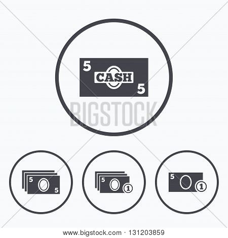 Businessman case icons. Currency with coins sign symbols. Icons in circles.
