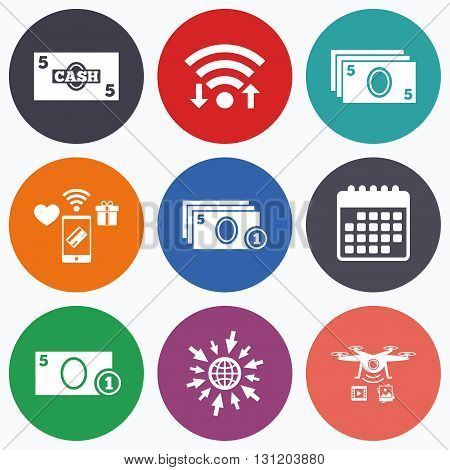 Wifi, mobile payments and drones icons. Businessman case icons. Currency with coins sign symbols. Calendar symbol.
