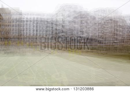 Double Exposure Background Of Houses And A Meadow