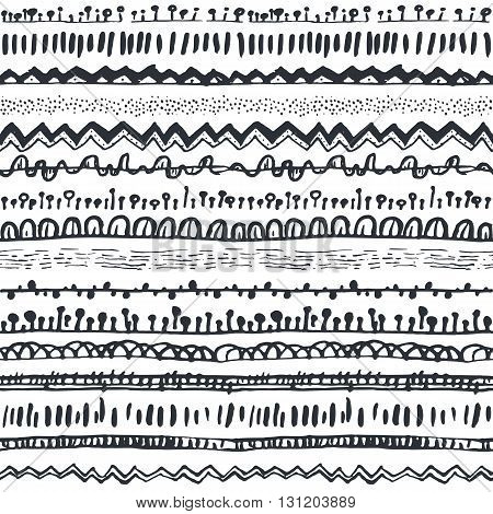 Ornamental ethnic seamless pattern. Endless hand drawn backdrop in boho style, tribal trendy ornament. Horizontal decorative black lines on white background. For cloth, wallpaper, wrapping