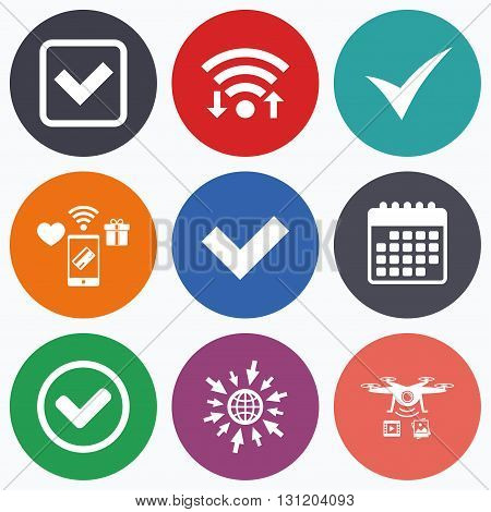 Wifi, mobile payments and drones icons. Check icons. Checkbox confirm circle sign symbols. Calendar symbol.