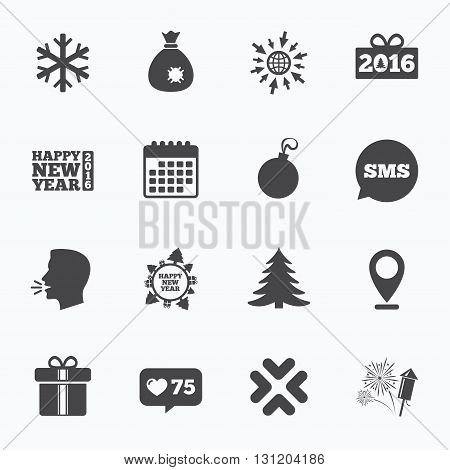 Calendar, go to web and like counter. Christmas, new year icons. Gift box, fireworks and snowflake signs. Santa bag, salut and decoration ball symbols. Sms speech bubble, talk symbols.
