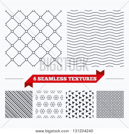 Diagonal lines, waves and geometry design. Circles grid texture. Stripped geometric seamless pattern. Modern repeating stylish texture. Material patterns.