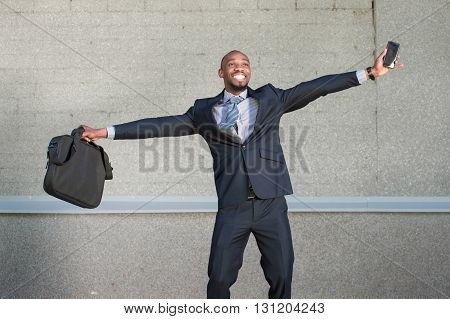 African American Business Man Rejoices