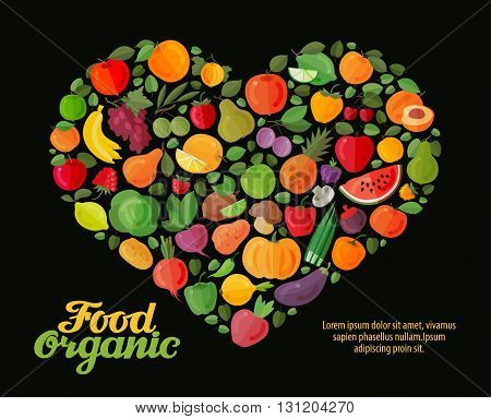 fruit and vegetable vector heart. flat illustrations. healthy food design
