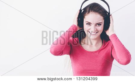 Elated Mirthful Woman Listen Music.