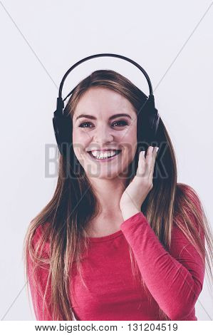Beauty Happy Woman Listen Music.