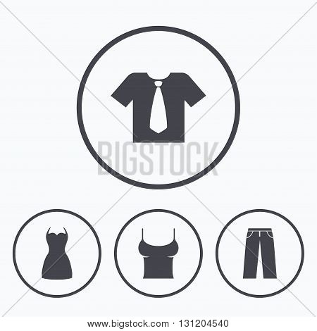 Clothes icons. T-shirt with business tie and pants signs. Women dress symbol. Icons in circles.