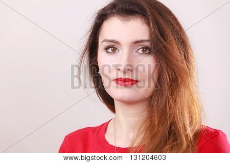 Portrait of indiffrent girl. Young gorgeous lady brunette.