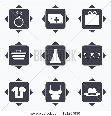 Icons with direction arrows. Accessories, clothes icons. Shirt with tie, glasses signs. Dress and engagement ring symbols. Square buttons.