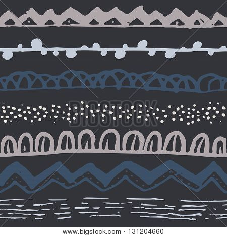Ornamental ethnic seamless pattern. Endless hand drawn backdrop in boho style, tribal trendy ornament. Horizontal decorative grey and blue lines on black background. For cloth, wallpaper, wrapping