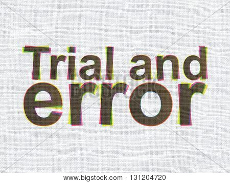Science concept: CMYK Trial And Error on linen fabric texture background