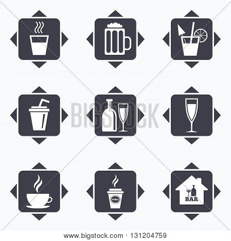 Icons with direction arrows. Cocktail, beer icons. Coffee and tea drinks. Soft and alcohol drinks symbols. Square buttons.