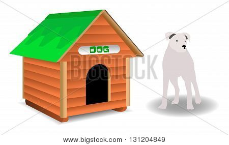 Doghouse and dog on a white background