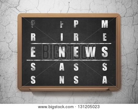News concept: Painted White word E-news in solving Crossword Puzzle on School board background, 3D Rendering