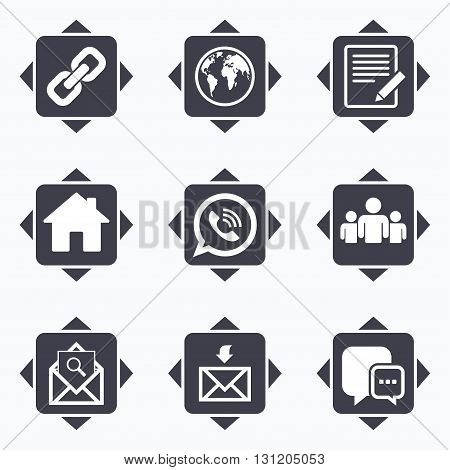 Icons with direction arrows. Communication icons. Contact, mail signs. E-mail, call phone and group symbols. Square buttons.