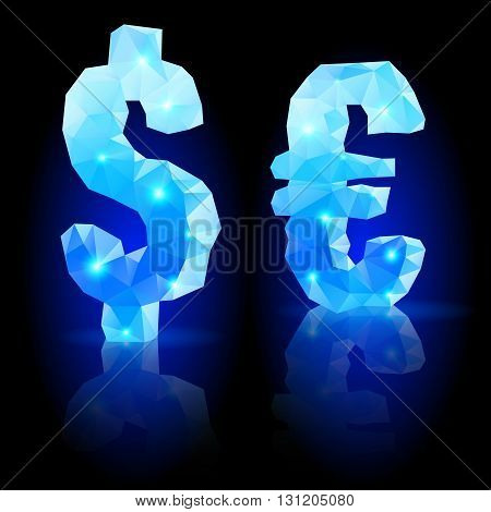 Shiny blue polygonal font with reflection on black background. Crystal style dollar and euro signs