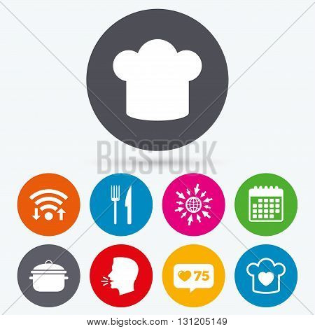Wifi, like counter and calendar icons. Chief hat and cooking pan icons. Fork and knife signs. Boil or stew food symbols. Human talk, go to web.