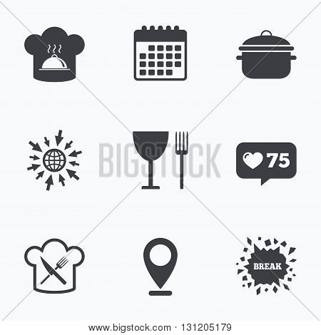 Calendar, like counter and go to web icons. Chief hat and cooking pan icons. Crosswise fork and knife signs. Boil or stew food symbols. Location pointer.