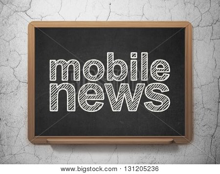 News concept: text Mobile News on Black chalkboard on grunge wall background, 3D rendering