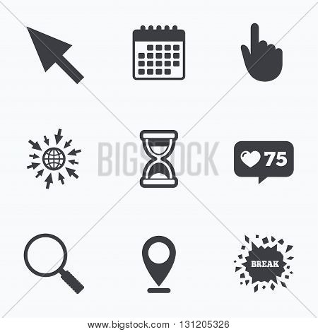 Calendar, like counter and go to web icons. Mouse cursor and hand pointer icons. Hourglass and magnifier glass navigation sign symbols. Location pointer.