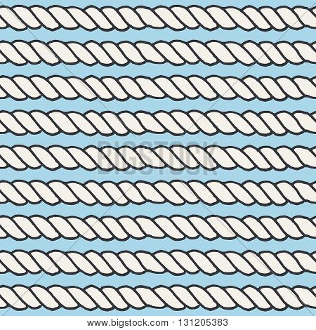 Marine rope line seamless pattern. Endless navy illustration with white rope ornament, horizontal cord strokes on light blue background. Trendy textured backdrop. For fabric, wallpaper, wrapping.