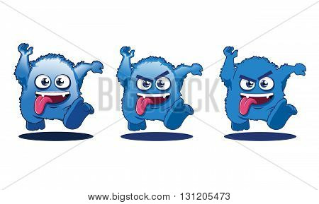 Illustration of Crazy Angry Cute Monster Cartoon