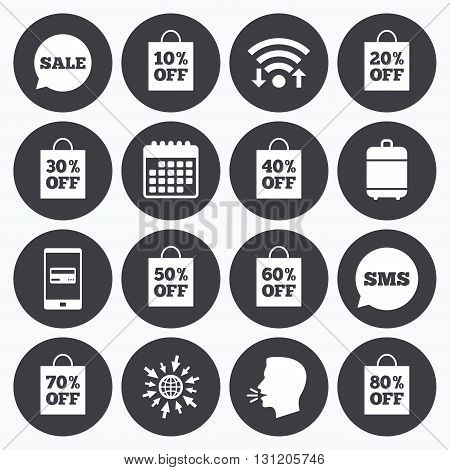 Wifi, calendar and mobile payments. Sale discounts icons. Special offer signs. Shopping bag, price tag symbols. Sms speech bubble, go to web symbols.