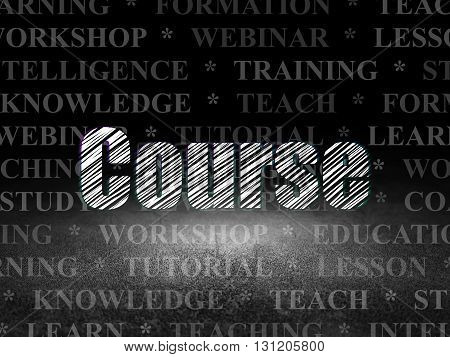Learning concept: Glowing text Course in grunge dark room with Dirty Floor, black background with  Tag Cloud
