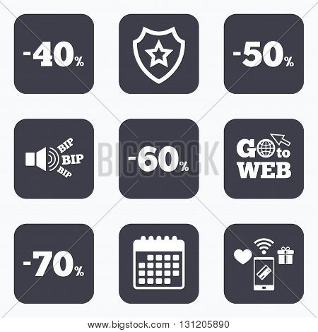 Mobile payments, wifi and calendar icons. Sale discount icons. Special offer price signs. 40, 50, 60 and 70 percent off reduction symbols. Go to web symbol.
