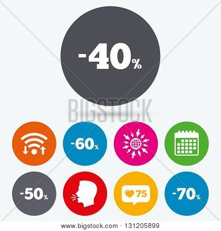Wifi, like counter and calendar icons. Sale discount icons. Special offer price signs. 40, 50, 60 and 70 percent off reduction symbols. Human talk, go to web.