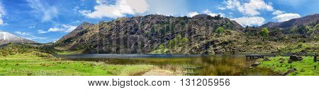 a panorama of a small mountain lake