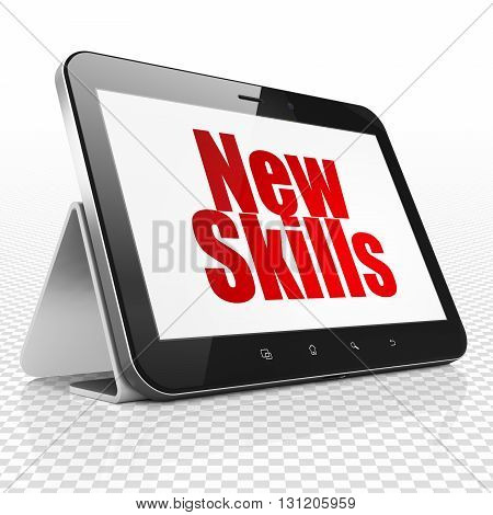 Learning concept: Tablet Computer with red text New Skills on display, 3D rendering
