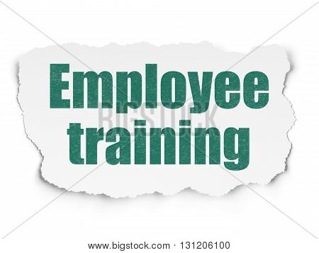 Learning concept: Painted green text Employee Training on Torn Paper background with  Tag Cloud