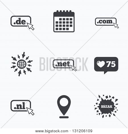 Calendar, like counter and go to web icons. Top-level internet domain icons. De, Com, Net and Nl symbols with cursor pointer. Unique national DNS names. Location pointer.