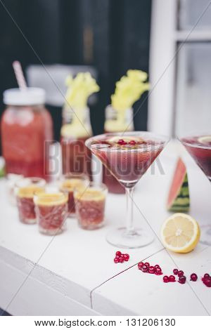 A Tasty And Healthy Cocktail Of Cranberries With Lemon
