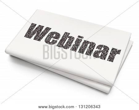 Education concept: Pixelated black text Webinar on Blank Newspaper background, 3D rendering