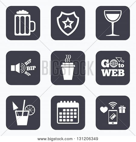 Mobile payments, wifi and calendar icons. Drinks icons. Take away coffee cup and glass of beer symbols. Wine glass and cocktail signs. Go to web symbol.