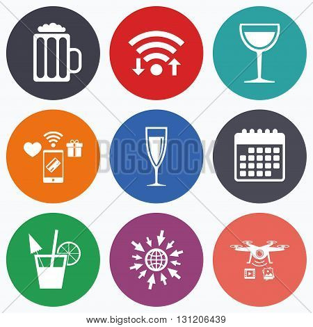 Wifi, mobile payments and drones icons. Alcoholic drinks icons. Champagne sparkling wine and beer symbols. Wine glass and cocktail signs. Calendar symbol.