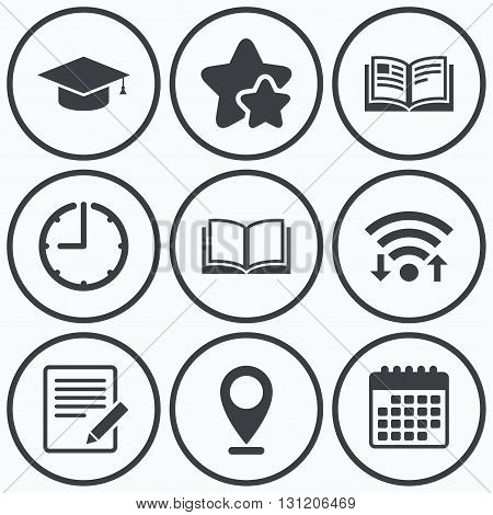 Clock, wifi and stars icons. Pencil with document and open book icons. Graduation cap symbol. Higher education learn signs. Calendar symbol.