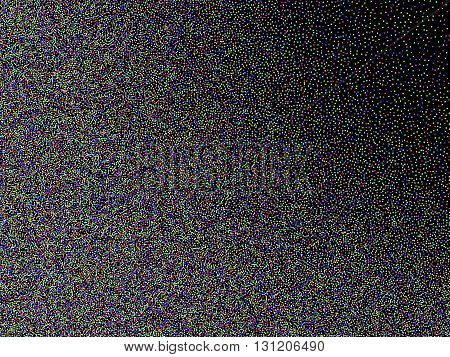 Abstract background, optical illusion of gradient effect. Stipple effect. Mosaic abstract composition. Rhythmic colorful tiles. Decorative shapes. Spectrum background. Colorful particles