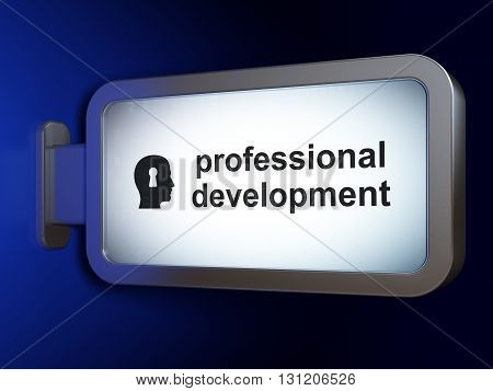 Education concept: Professional Development and Head With Keyhole on advertising billboard background, 3D rendering