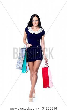 happy smiling woman hold shopping bag. Female isolated over white background