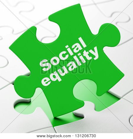 Political concept: Social Equality on Green puzzle pieces background, 3D rendering