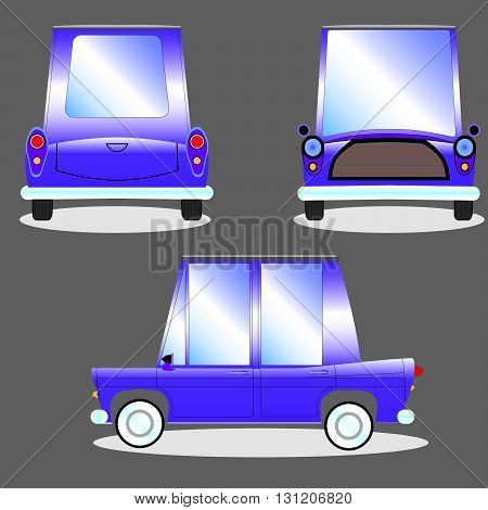 Cartoon blue car on a gray background with three sides