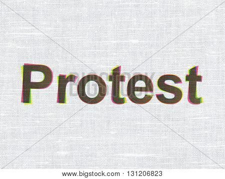 Political concept: CMYK Protest on linen fabric texture background